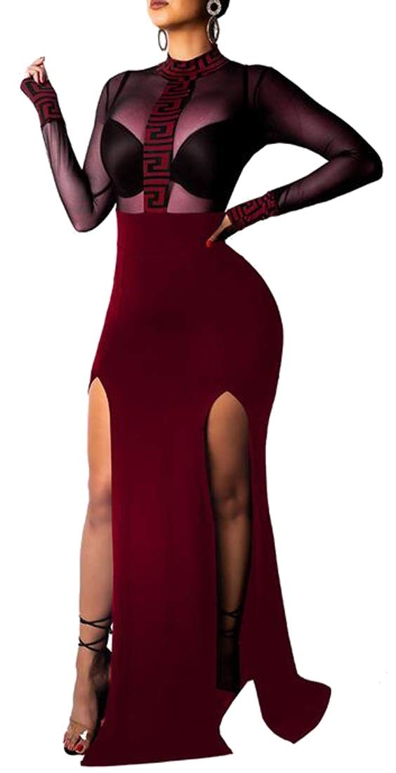 MOUTEN Womens Mesh Bodycon High Split See-Through Evening Prom Party Maxi Dress Wine Red XS