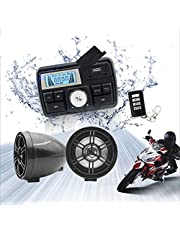 12V Radio 3 inch Motorcycle ATV UTV Golf Cart Waterproof Anti-Theft Bluetooth Speaker USB TF U Disk FM Radio Stereo System (Black)