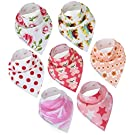 Baby Bandana Drool Bibs By Daulia, Girls 7-Pack Absorbent Organic Cotton, Cute Baby Gift for Girls