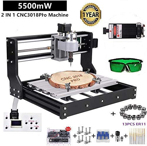2 in 1 5500mW Engraver CNC 3018 Pro Engraving Machine, GRBLControl PCB PVC Wood Router CNC 3 Axis Milling Machine with…