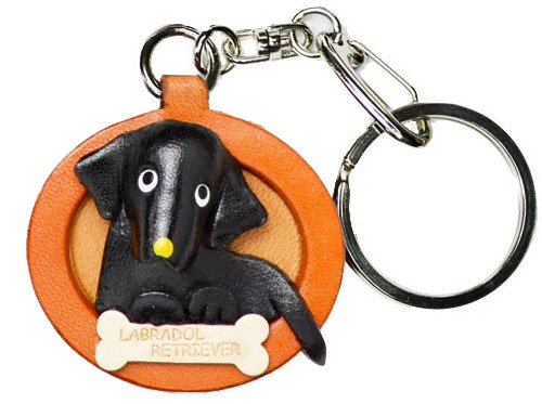 (Labrador Retriever Black Leather Plate Dog Keychain VANCA CRAFT-Collectible keyring Made in Japan )