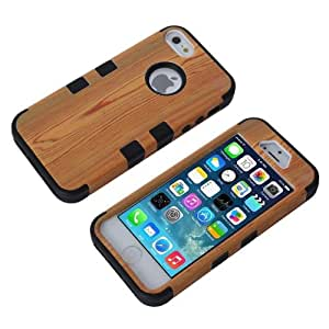 Candywe 3in1 New Wood Bamboo Wooden Print Series Hard Cover Case for iphone 5 5G 5S Black