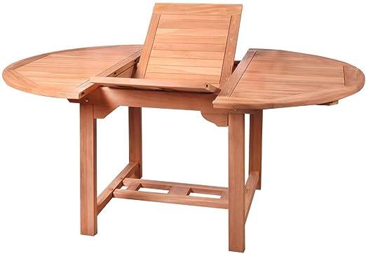 Mesa de jardín Extensible nórdica de Teca marrón de 120x120x77 cm - LOLAhome: Amazon.es: Jardín