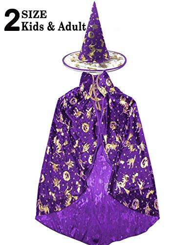 (Halloween Costume Women Girs Boys 2 Pack Witch Wizard Cape Role Play Costume Dress Up Cloak with Party Hat Cosplay Set )