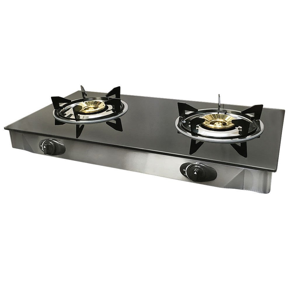 Propane Gas Range Stove Deluxe 2 Burner Tempered Glass Cooktop Auto Ignition BIN1