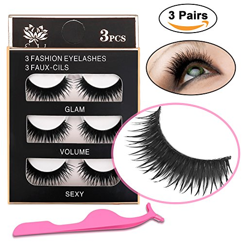 3D False Eyelashes with False Eyelash Tweezers - XREXS 14mm Three pairs Package Reusable Long Thick Handmade False Lashes Makeup, Looks Natural, for Making Lashes Thick and Black (14MM)
