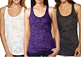 Epic MMA Gear Yoga Tank Top - Burnout Racerback Pack of 3 (M, White/Purple/Black)