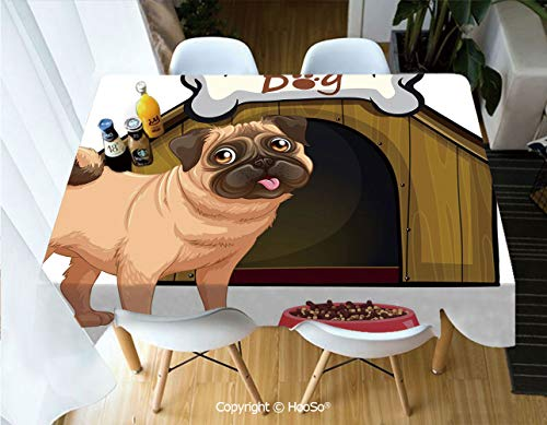 Fabric Rectangular Table Cloth, Washable Table Cover Perfect for Christmas, Thanks Giving, Dinner Parties, BBQ and Everyday Use,Pug,Dog House with a Pug in Front and a Its Food,53