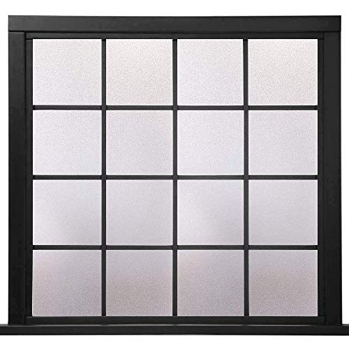 "Rabbitgoo Privacy Window Film Frosted Film No Glue Anti-UV Window Sticker White Frosted Window Cling Non-Adhesive for Privacy Office Meeting Room Bathroom Bedroom Living Room 17.5"" x 78.7"""