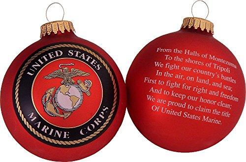 Christmas by Krebs CBK80428 Made in the USA Military Logo & Hymn Christmas Ball Ornament, 3.25-Inch, Marine Corps
