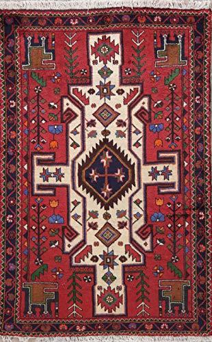 (Hamadan Persian Design Area Rug Wool Hand-Knotted Oriental Geometric 3x5 Carpet)