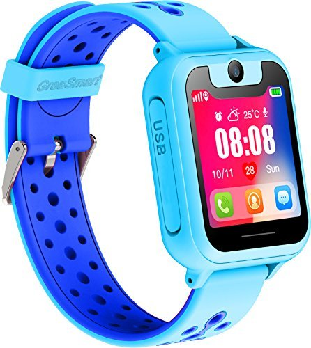 Kids Smartwatch with GPS Tracker Phone Remote Monitor Camera Touch Screen One Game Anti Lost Alarm Clock App Control by Parents for Children Boys Girls Compatible with Android iPhone (01 S6 Blue)