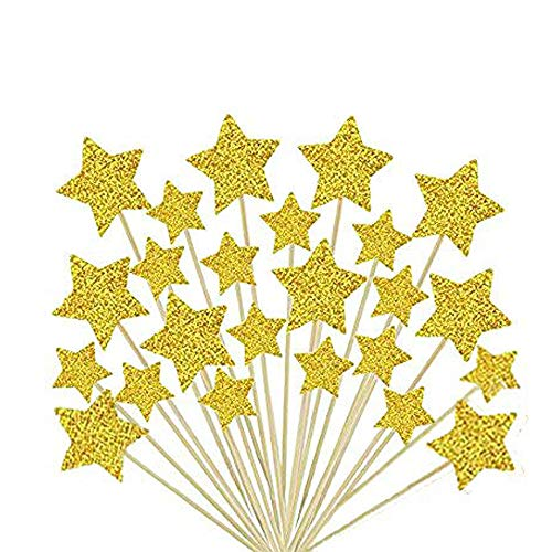 36 Pieces Cake Toppers Cupcake Gold Star Topper Star Cake Decor for Birthday Wedding Ceremony