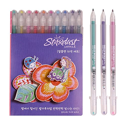 - Sakura PGB10CS4 10-piece Gelly Roll Assorted Colors Stardust Galaxy Pen Blister Card Gel Ink Pen Set, Bold Sparkling, Assorted Colors