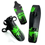 FETESNICE Cycling MTB Mountain Bike Road Bicycle Front Rear Mudguard Fender and Front Clip-on Bicycle Down Tube Fender Set Mud Guard (Green)