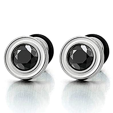 Mens Womens White Black Stud Earrings Steel Illusion Tunnel Plug Screw Back with Black Cubic Zirconia 8XMy2K