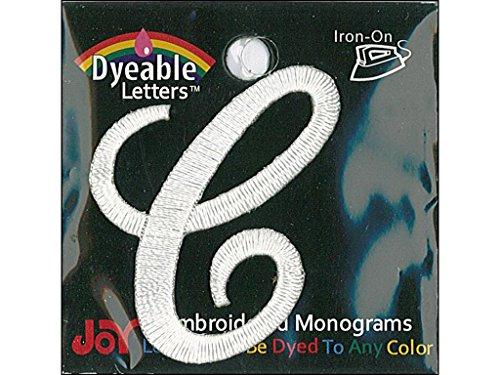 Joy joy20055Applique Carta Hierro Sobre Script Tinte Color Blanco C, 3,8cm