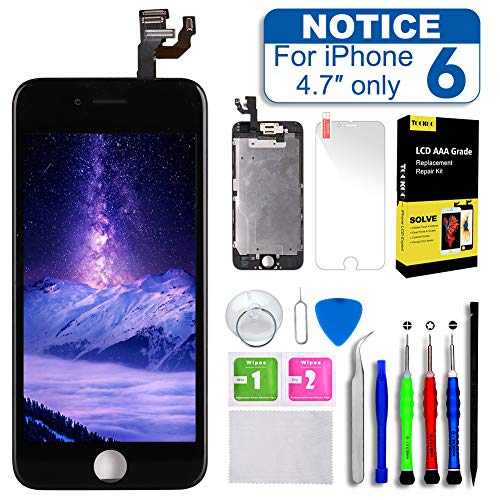 Screen Replacement for iPhone 6 4.7inch,Tokmali LCD Display Touch Screen Digitizer Frame Full Assembly,Complete 9 Pcs Repair Tools Kit and Free Screen Protector (IP6-BLACK)