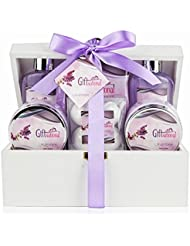Spa Gift Basket with Sensual Lavender Fragrance - Best Graduation, Wedding, Birthday or Anniversary Gift for Women - Bath Gift Set Includes Shower Gel, Bubble Bath, Bath Salts, Bath Bombs and More!