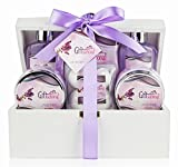 Spa Gift Basket with Sensual Lavender Fragrance – Best Wedding, Birthday, Anniversary or Graduation Gift for Women – Bath Gift Set Includes Shower Gel, Bubble Bath, Bath Salts, Bath Bombs and More!