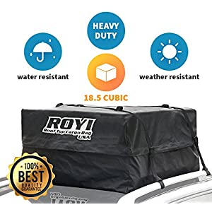 100% Waterproof Roof Cargo Bag 18.5 Cubic Ft Storage Space Dual Seam & Sturdy Straps Heavy Duty Top Carrier Storage Box Install in seconds 3Year Warranty Fit for All Cars With or Without Racks by ROYI