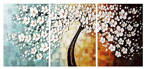 Cenkoo Oil Painting On Canvas Hand Painted White Flower Modern Artwork Paintings
