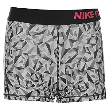 68ec239266 Nike Pro All Over Print Training Shorts Junior Girls (Black/Grey, 13 ...