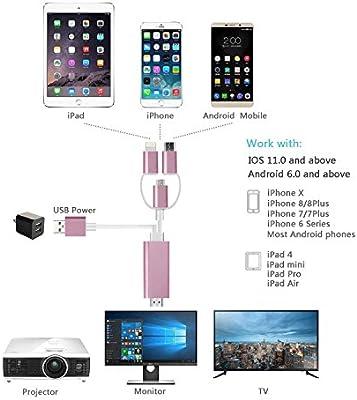 ZFKJERS - Cable 3 en 1 para iluminación/Micro USB/Type-C a HDMI ...