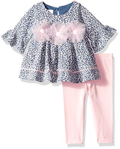 (Bonnie Baby Baby Girls Dressy Legging Set, Blue/Pink Rosettes, 6-9 Months)