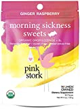 Pink Stork Morning Sickness Sweets: Ginger Raspberry Flavor, USDA Organic Hard Lozenges + Vitamin B6 to Relieve Nausea, 30 Individually Wrapped Hard Sweets
