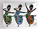 Ambesonne African Woman Pillow Sham by, Religious Dance Performed by African Women in Traditional Ethnic Dresses, Decorative Standard Queen Size Printed Pillowcase, 30 X 20 Inches, Multicolor