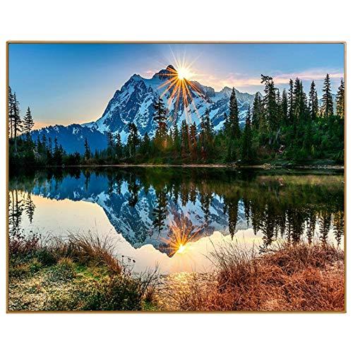 40x50cm Have Frame KYKDY See Landschaftsölgemälde durch Zahlen DIY digitale Bilder Färbung durch Zahl Handzeichnung Färbung auf Leinwand Home Decor, haben Rahmen, 40x50 cm