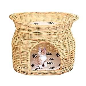 Amazon.com: DYYTRm - Cesta de mimbre para cama de gato, 2 ...