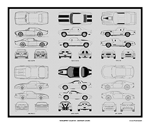 Chevrolet Camaro Blueprint Collection Print Car Art Gift, 20x24 (Poster Camaro)