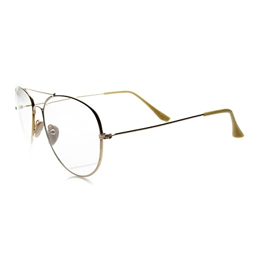 7eda1bbe439 Amazon.com  Nickel Plated Tear Drop Wire Frame Basic Metal Clear Lens  Aviator Glasses (Gold Clear)  Clothing