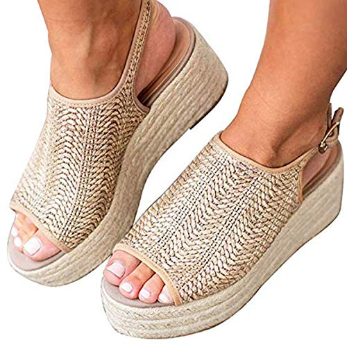 Ru Sweet Women's Espadrille Wedge Sandals Braided Jute Ankle Buckle Platform Sandals