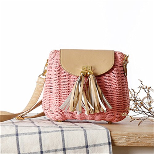 INS Hot Rattan Bags Handmade Summer Women Shoulder Bags Wicker Beach Bag Tassel Summer Handbags Straw Bags KS1165 Pink