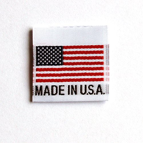 Woven Craft Labels - 100 pcs Made in U.S.A. Woven Clothing Labels, American Flag ,Handmade, Crochet, Knitters(100 Labels per Bag)
