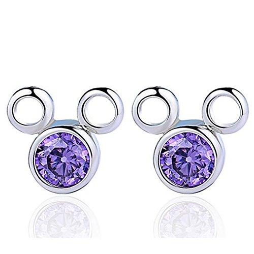 Henai Purple Lovely Mickey Mouse Cute Zircon Earrings Studs for Girls Women