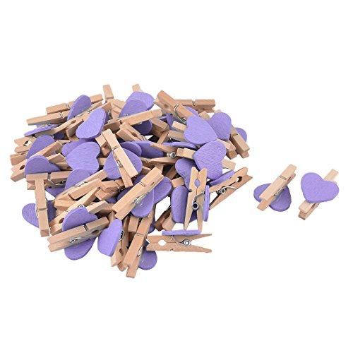 - uxcell Card Photo Heart Shape Clothespin Pegs Mini Wooden Clip 50pcs Purple