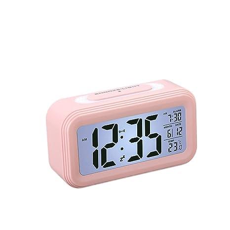 Vosarea Despertador Digital LED Reloj de Mesa para Pilas con indicador de la Temperatura de la