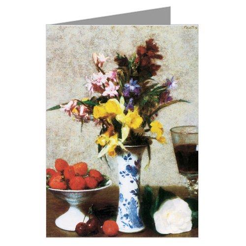 Painting Fantin Latour - Henri Fantin-Latour Fine Art Painting Titled Betrothal Still Life 1869 Greeting Card Boxed Set