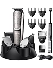 Hair Clippers for Men, Telfun Beard Trimmer Waterproof Hair Trimmer for Men 2 Ways Rechargeable Professional Cordless Hair Trimmer Nose Ear Facial Cutting Groomer All in 1 Mens Grooming Kit with LED Display