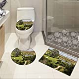 Hobbits 3 Piece Toilet Cover set Overhill Matamata New Zealand Movie Set Hobbit Land Village Movie Set Image pattern Green Brown