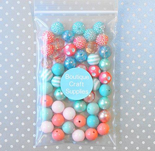Summer Splash Aqua and Coral 20mm Bubblegum Bead 50 Piece Bulk Set from Boutique Craft Supplies