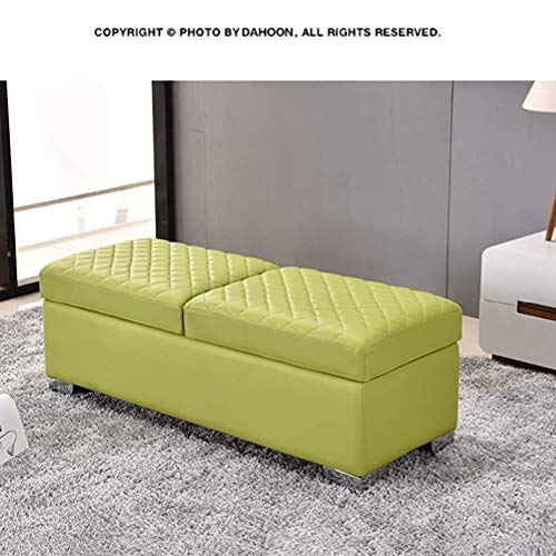 Faux Leather Storage Ottoman Footrest Stool, Wooden Ottoman Bench Seat Chest Comfort Upholstered Toy Box Footstool Trunk Bedroom-Green 41x45x60cm(16x18x24)