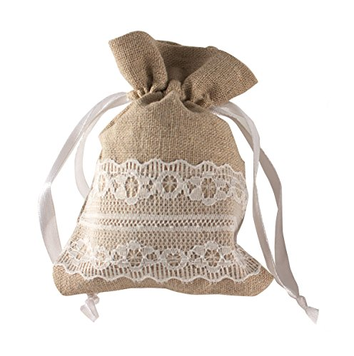 BurlapHemp-Lace-Drawstring-Bag-25Pack-35x45-Jewelry-Pouch-Wedding-Party-Favor-Gift-or-Candy-Bag