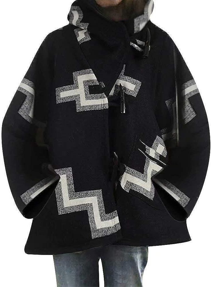 BEAUTYVAN Womens Batwing-Sleeve Hooded Wool Coat Plus Size Baggy Lapel Button Peacoat Trench Jacket Overcoat Outwear