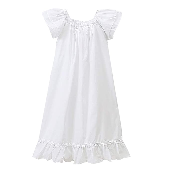 Girls Lace Nightgowns Soft Cotton Sleepwear Dress Toddler 3-12 Years