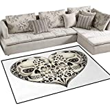 Day of The Dead,Rug,Twin Half Fire Design in Heart Shapes Festive Spanish Image Print,Area Carpet,Cream and Black,36''x48''